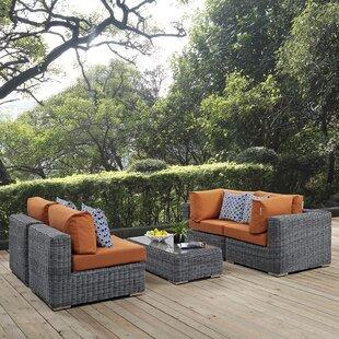 Keiran 5 Piece Rattan Sunbrella Sectional Set with Cushions ByBrayden Studio