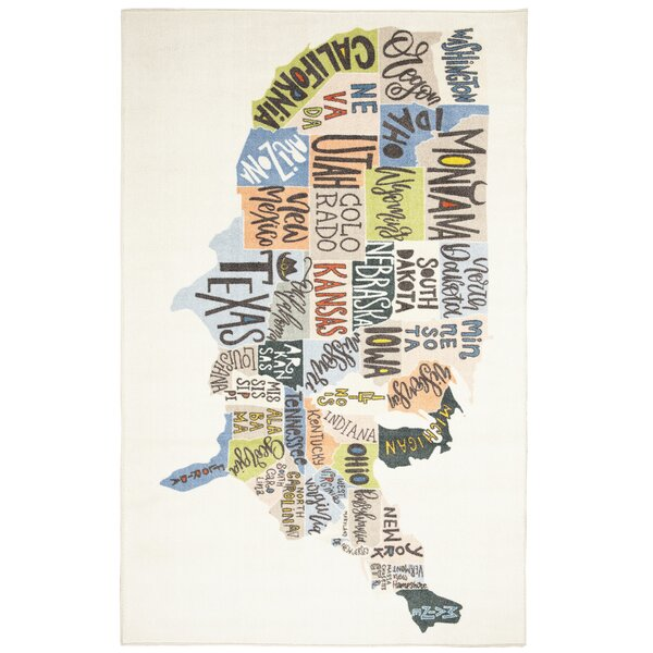 Engler States Map Beige/Blue Area Rug by Zoomie Kids