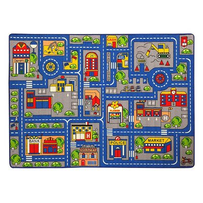 Haase Town Map Children Blue/Red Area Rug by Zoomie Kids