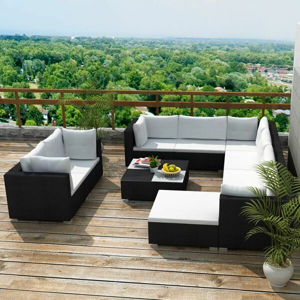 Rubalcava Garden 10 Piece Rattan Sofa Seating Group with Cushions by Orren Ellis