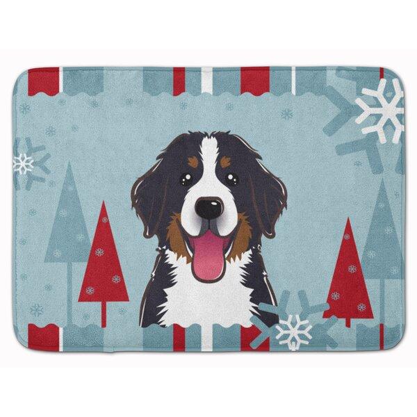 Winter Holiday Bernese Mountain Dog Memory Foam Bath Rug by East Urban Home