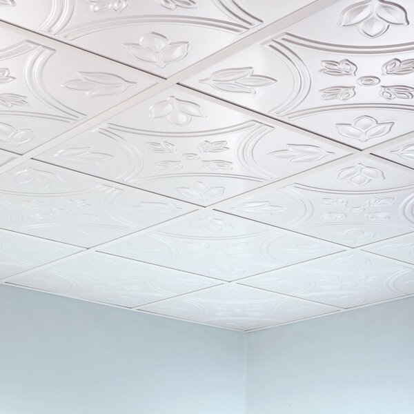Traditional 5 2 ft. x 2 ft. Lay-In Ceiling Tile in Gloss White by Fasade