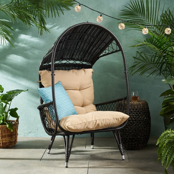 Molly Outdoor Standing Basket Chair with Cushion   Molly Outdoor Wicker Standing Patio Chair with Cushion by Bayou Breeze