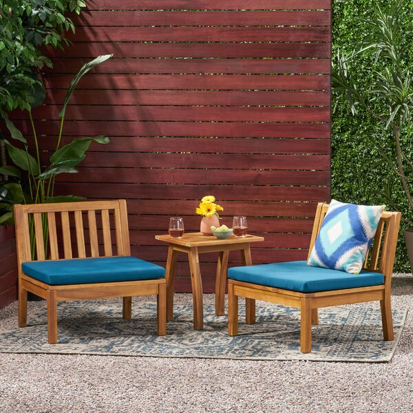 Hiltz Outdoor Chat 3 Piece Seating Group with Cushions by Brayden Studio