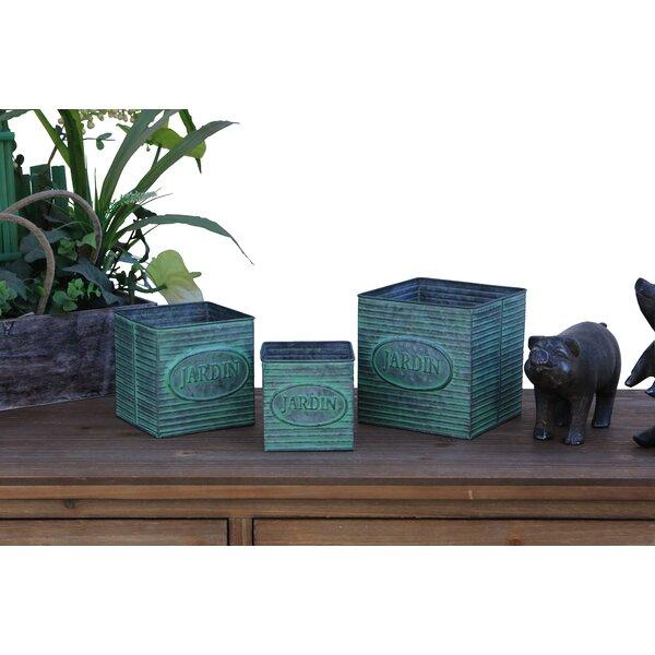 Prosperie 3 Piece Square Metal Pot Planter Set by August Grove