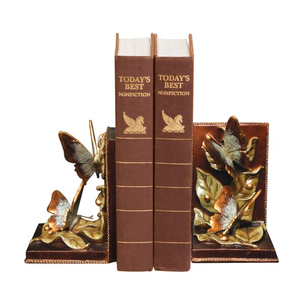 Butterflies Foraging Book Ends (Set of 2) by Astor