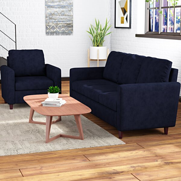 Anglin Raisin Fabric Modern 2 Piece Wood Frame Living Room Set by Wrought Studio