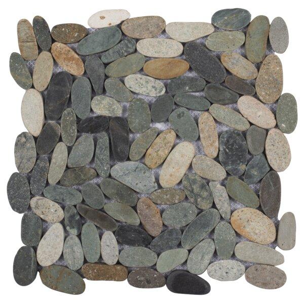 Cigars Sliced Random Sized Natural Stone Pebble Tile in River Gray by Pebble Tile