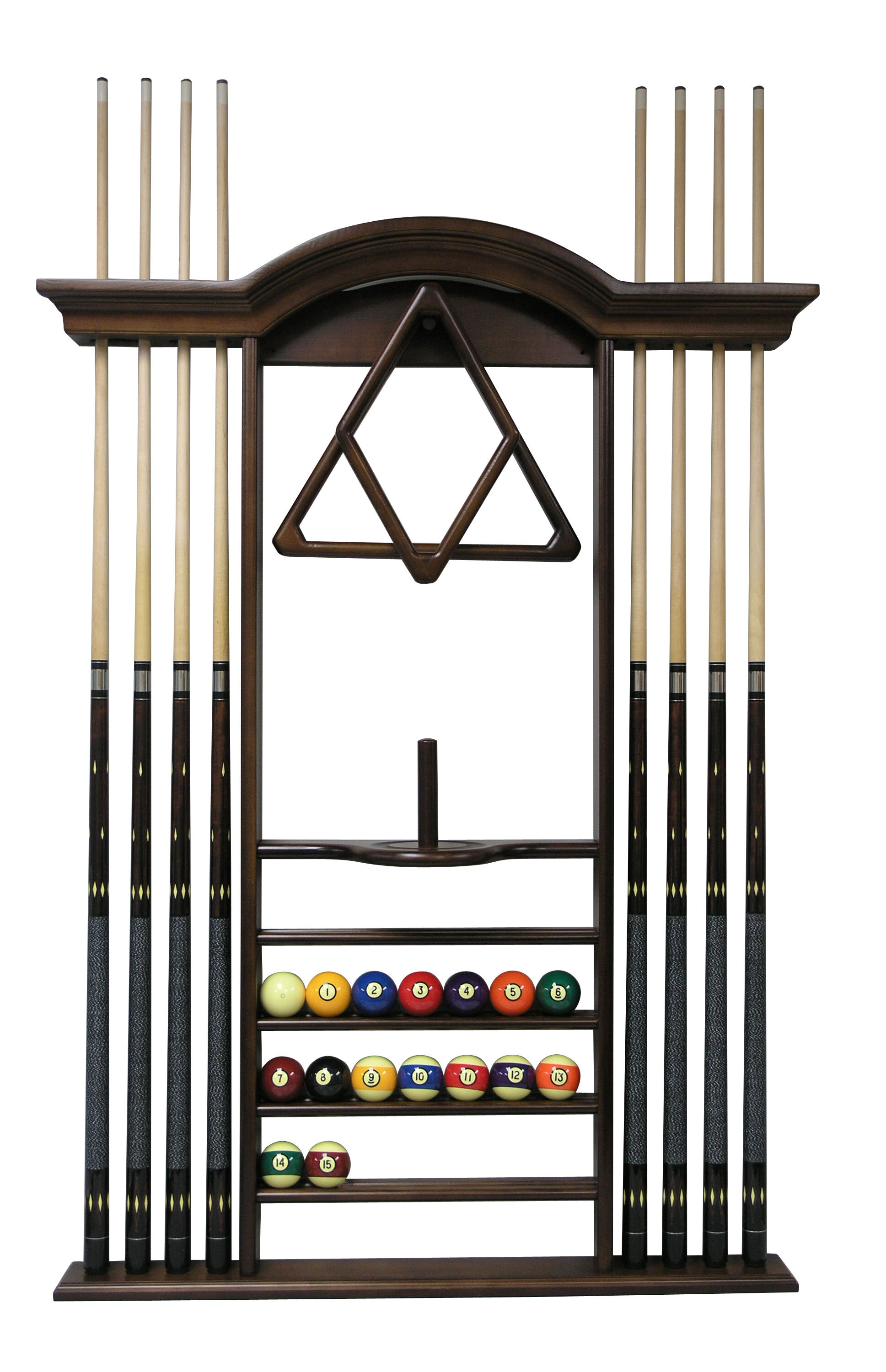 Chocolate Stained Wood 6 Pool Cue Wall Rack With Score Counter Cue