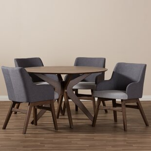Monte Mid-Century Modern Wood Round 5 Piece Dining Set By Wholesale Interiors