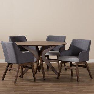 Monte Mid-Century Modern Wood Round 5 Piece Dining Set ByWholesale Interiors