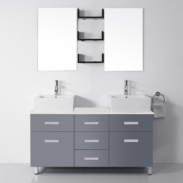 Azaiah 56 Double Bathroom Vanity Set with White Stone Top and Mirror by Orren Ellis