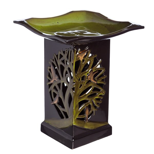 Tree of Life Lighted Birdbath with Pedestal by Evergreen Flag & Garden