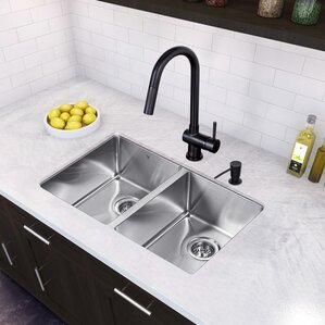 VIGO 29 inch Undermount 50/50 Double Bowl 16 Gauge Stainless Steel Kitchen Sink with Gramercy Matte Black Faucet, Two Grid...