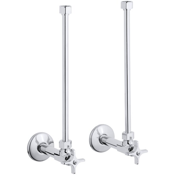 Pair  Angle Supplies with Stop, Cross Handle and Annealed Vertical Tube by Kohler