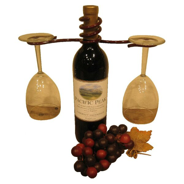 1 Bottle Tabletop Wine Bottle and Glass Rack by Metrotex Designs Metrotex Designs