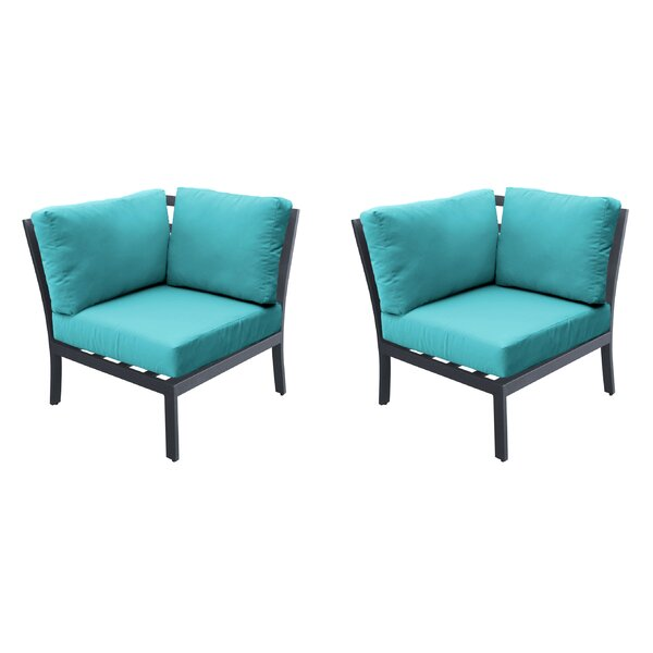 Kain Corner Patio Chair with Cushions (Set of 2) by Wrought Studio