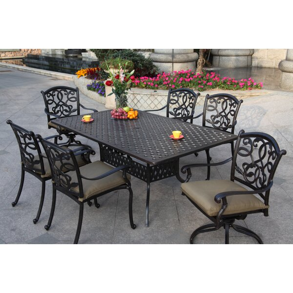 Calhoun 7 Piece Dining Set with Cushions by Fleur De Lis Living