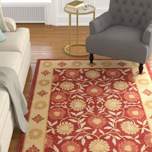 Cranmore Red/Beige Floral Area Rug by Charlton Home