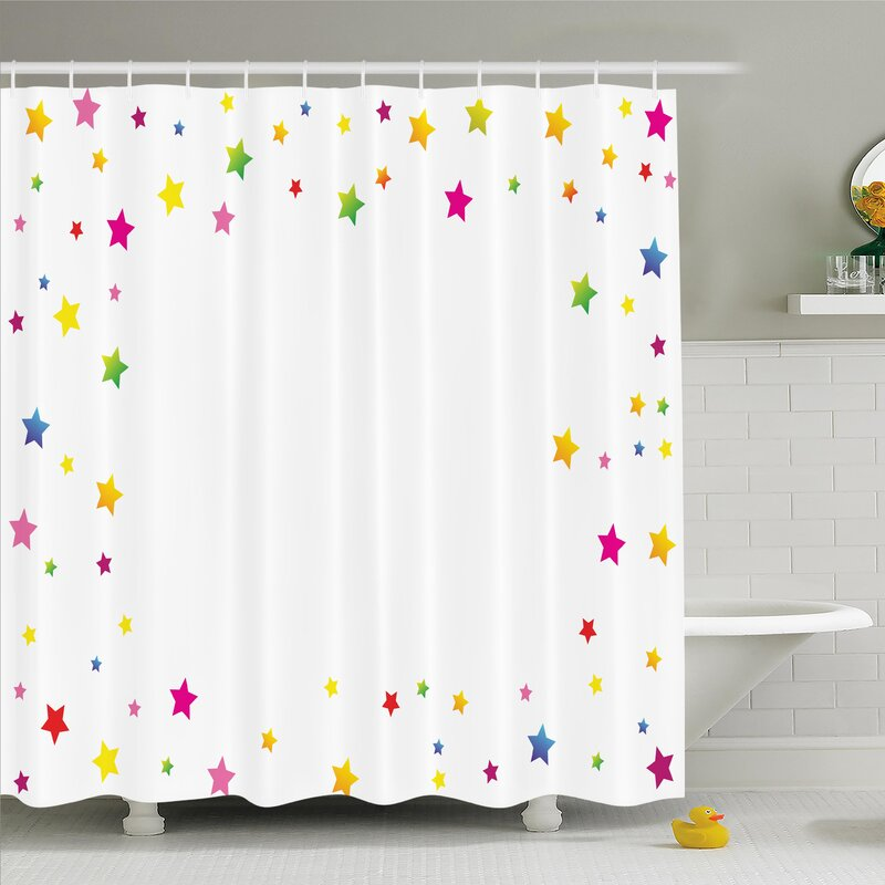 Maegan Colorful Stars Shower Curtain Set