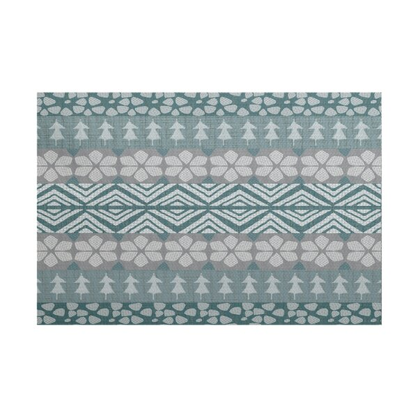 Fair Isle Teal/Gray Indoor/Outdoor Area Rug by The