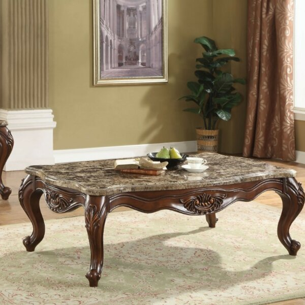 Ardelia Traditional Rectangular Marble and Wooden Coffee Table by Astoria Grand Astoria Grand