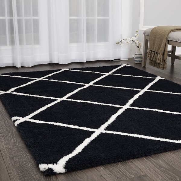 Michel Diamond Shag Navy/Ivory Area Rug by Wrought Studio