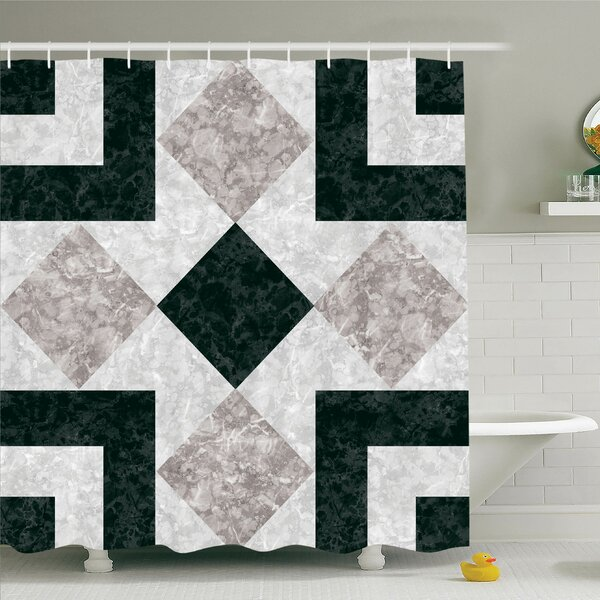 Nostalgic Marble Stone Mosaic Design with Alluring Elements Image Shower Curtain Set by East Urban Home