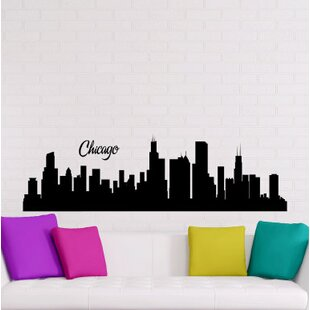 Mcmiller Chicago City Skyline Silhouette Wall Decal & Chicago Skyline Wall Decal | Wayfair