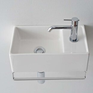 Affordable Teorema Ceramic 17 Wall Mount Bathroom Sink with Overflow By Scarabeo by Nameeks