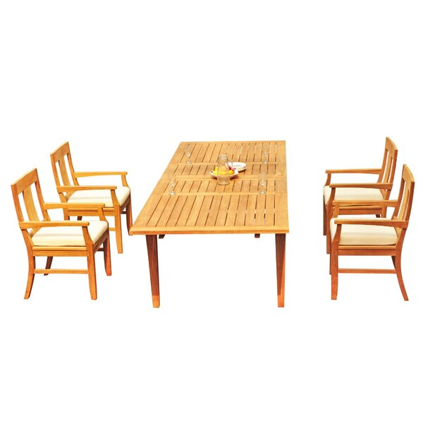Laidley 5 Piece Teak Dining Set by Rosecliff Heights