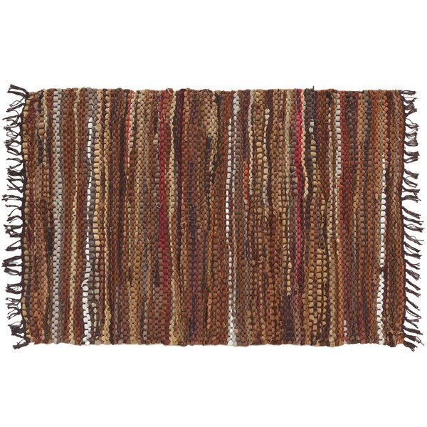 Tucson Hand-Tufted Cotton/Leather Brown Area Rug by Home Furnishings by Larry Traverso