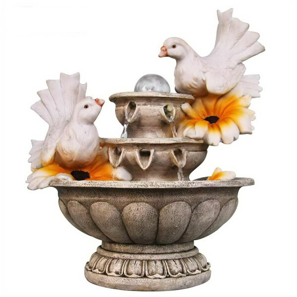 Resin Couple of Dove Resting on 3 Tier European Sculpture Tabletop Water Fountain by Sintechno