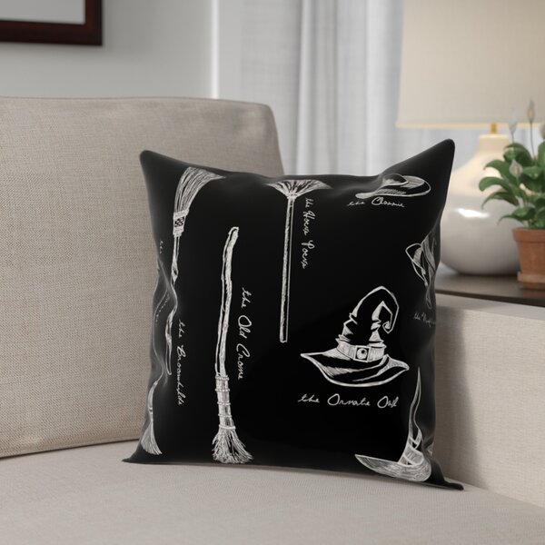 Witch Accessories Throw Pillow by The Holiday Aisle