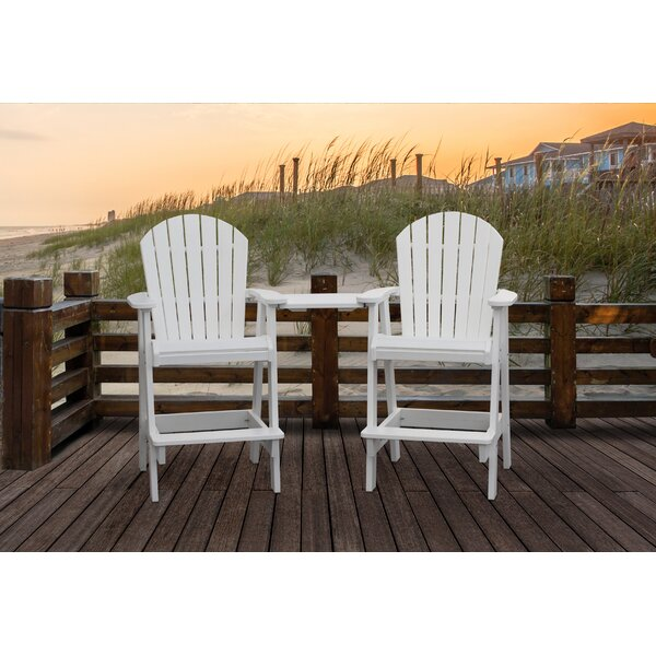 Huggins Patio Plastic Adirondack Chair with Table (Set of 2) by Breakwater Bay Breakwater Bay