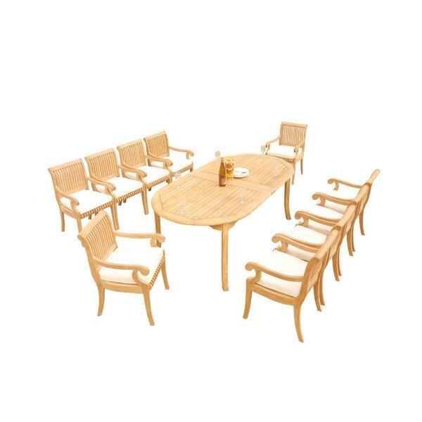 Massenburg 11 Piece Teak Dining Set by Rosecliff Heights