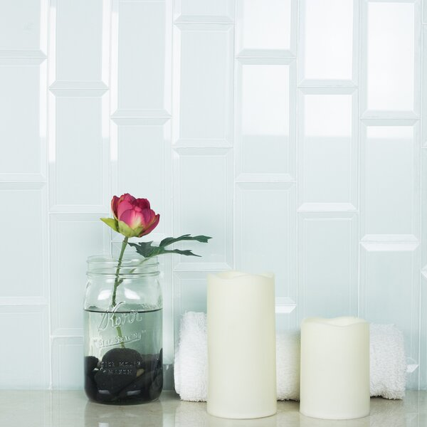 Frosted Elegance 3 x 12 Glass Subway Tile in Glossy Arctic by Abolos