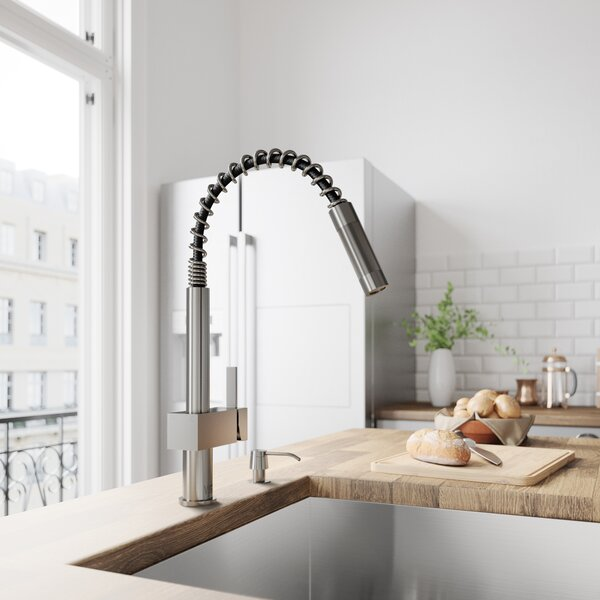 Lincroft Pull Down Single Handle Kitchen Faucet with Optional Soap Dispenser by VIGO