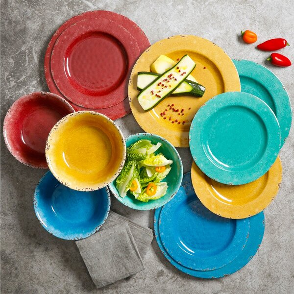 Eckert 12 Piece Melamine Dinnerware Set, Service for 4 by Breakwater Bay
