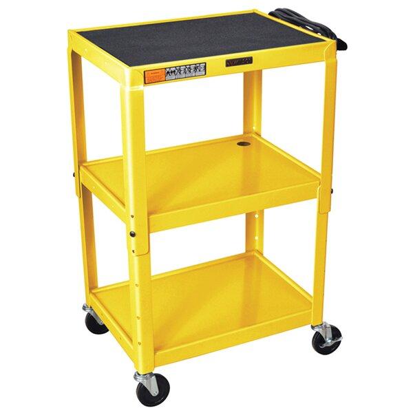 Adjustable Height Steel 3 Shelves AV Cart by Offex
