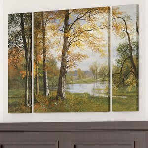 'A Quiet Lake' 3 Piece Graphic Art on Wrapped Canvas Set by Alcott Hill