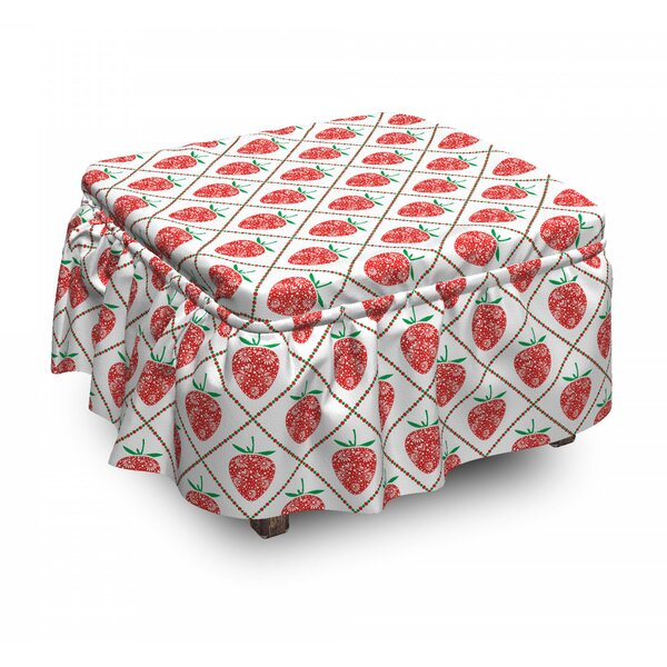 Strawberry Rhombus Dots Ottoman Slipcover (Set Of 2) By East Urban Home