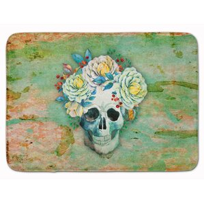 Day Of The Dead Skull With Flower Memory Foam Bath Rug
