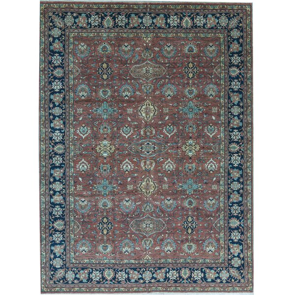Handmade Hand-Knotted Wool Red/Blue Rug