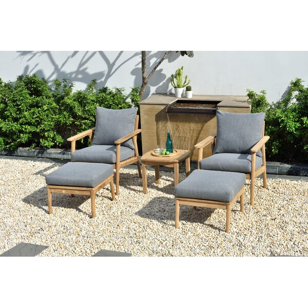 Darrah 5 Piece Teak Multiple Chairs Seating Group with Cushions by Brayden Studio