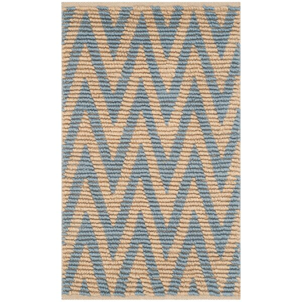 Arria Hand-Woven Rectangle Natural/Light Blue Area Rug by Highland Dunes