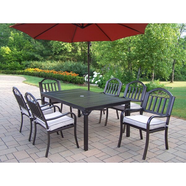 Lisabeth Traditional 7 piece Dining Set with Cushions and Umbrella by Red Barrel Studio