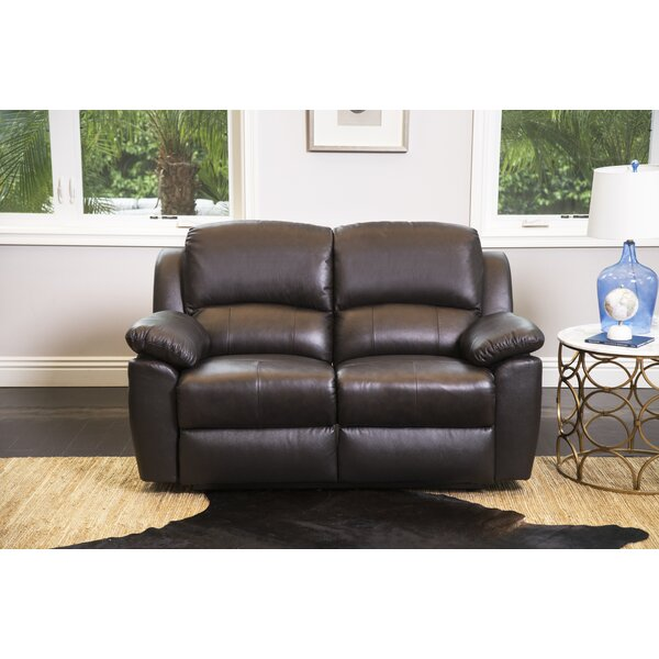 Premium Sell Veazey Leather Reclining Loveseat by Darby Home Co by Darby Home Co