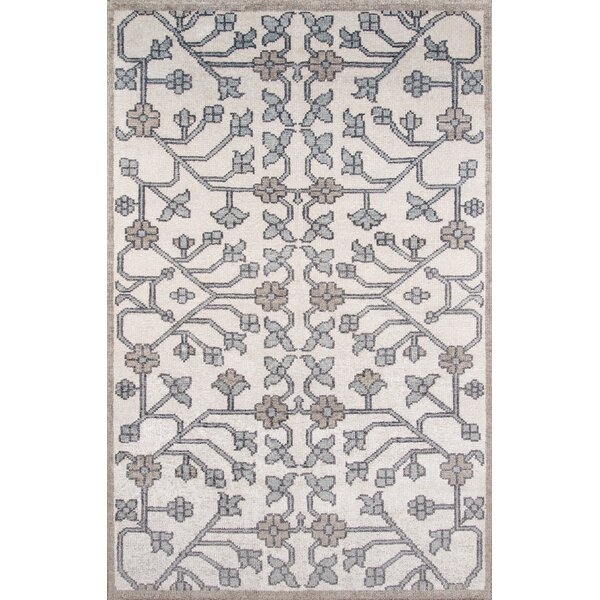 Zoey Hand-Knotted Ivory/Gray Area Rug by Bungalow Rose