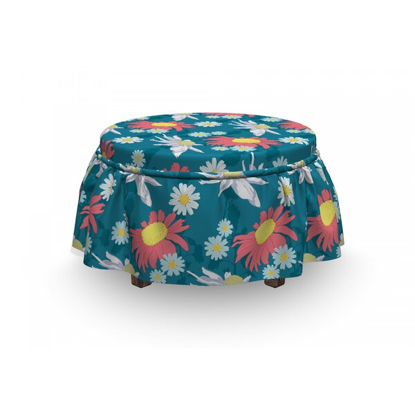Ornamental Corsage Ottoman Slipcover (Set Of 2) By East Urban Home